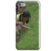 Kids Looking for Stuff in the Grass iPhone Case/Skin