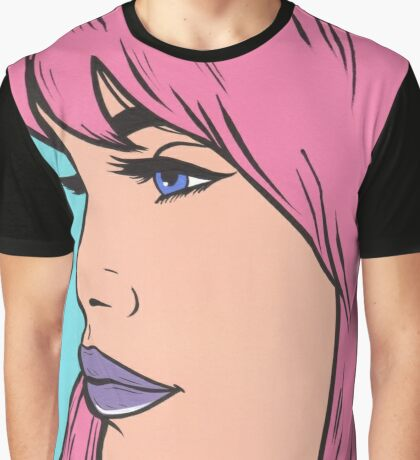 Pastel Pink Comic Girl Graphic T-Shirt