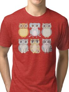 Owls, Dogs, Cat, Raccoon Tri-blend T-Shirt