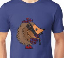 Funky Cool Hedgehog Playing Bagpipes Unisex T-Shirt