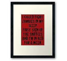 Zombies & Sniffles (Black) Framed Print