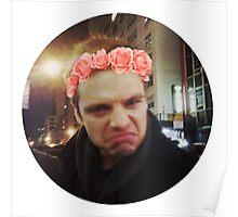 Sebastian Stan with Flower Crown Sticker Poster