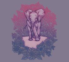 Cute Baby Elephant in pink, purple & blue Kids Tee