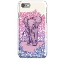 Cute Baby Elephant in pink, purple & blue iPhone Case/Skin