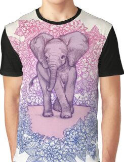 Cute Baby Elephant in pink, purple & blue Graphic T-Shirt