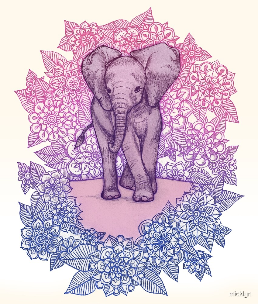 Quot Cute Baby Elephant In Pink Purple Amp Blue Quot By Micklyn