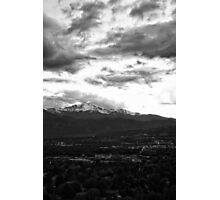 Pikes Peak Sunset #4 (Black and White) Photographic Print