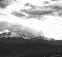Pikes Peak Sunset #4 (Black and White) Sticker