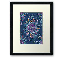 Deep Summer - Watercolor Floral Medallion Framed Print