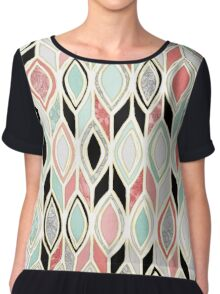 Patchwork Pattern in Coral, Mint, Black & White Chiffon Top