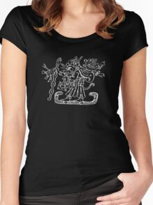 Raccoon God with Skeleton in a Papoose from Dresden Codex Women's Fitted Scoop T-Shirt