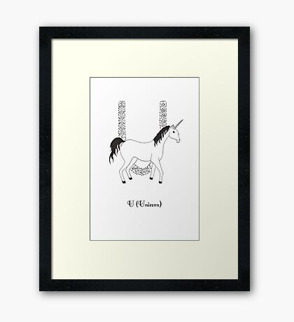 U is for Unicorn Framed Print