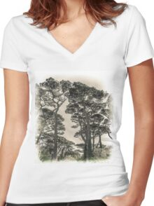 Tall Trees Women's Fitted V-Neck T-Shirt