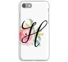 Floral Monogram H iPhone Case/Skin