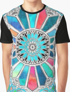 Iridescent Watercolor Brights on White Graphic T-Shirt