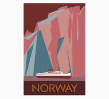 Norway fjords retro vintage style cruise travel  Baby Tee