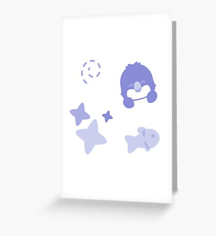 Farthing the Fairy Penguin, Playful Pattern Greeting Card