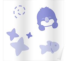Farthing the Fairy Penguin, Playful Pattern Poster