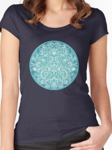 Spring Arrangement - teal & white floral doodle  Women's Fitted Scoop T-Shirt