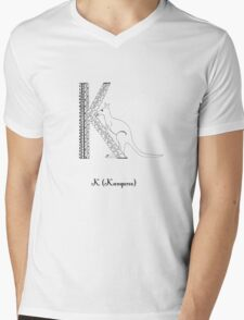 K is for Kangaroo Mens V-Neck T-Shirt
