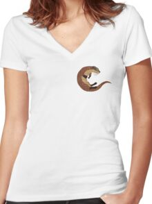 Swimming Otter Isolated Women's Fitted V-Neck T-Shirt