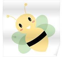 Cute Beautiful Bee isolated on white Poster