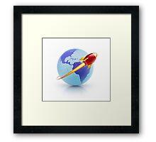 global rocket speed travel around the world Framed Print