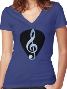 Guitar Pick Music Note Women's Fitted V-Neck T-Shirt