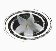 White Flower in a Green Swirl Kids Tee