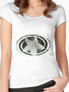 White Flower in a Green Swirl Women's Fitted Scoop T-Shirt