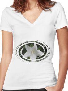 White Flower in a Green Swirl Women's Fitted V-Neck T-Shirt
