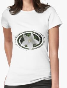 White Flower in a Green Swirl Womens Fitted T-Shirt