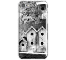 Black and White Birdhouses iPhone Case/Skin