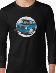 VW T3 bus caricature blue Long Sleeve T-Shirt