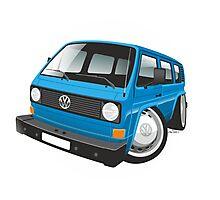 VW T3 bus caricature blue Photographic Print