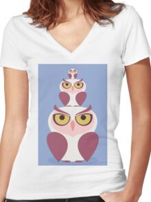 OWLS THREE DEEP Women's Fitted V-Neck T-Shirt