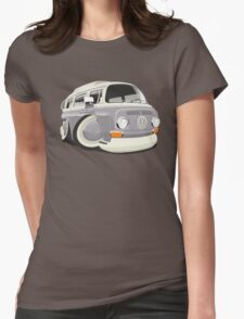 VW T2 bus caricature grey Womens Fitted T-Shirt