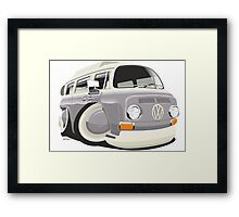 VW T2 bus caricature grey Framed Print
