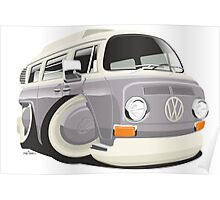 VW T2 bus caricature grey Poster