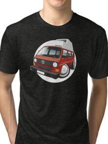 VW T3 camper caricature red Tri-blend T-Shirt