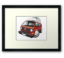 VW T3 camper caricature red Framed Print