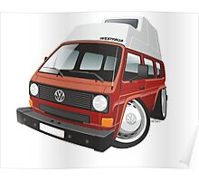 VW T3 camper caricature red Poster