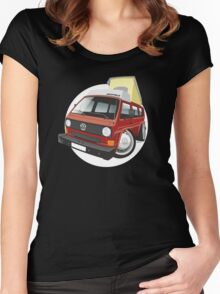 VW T3 pop-top camper caricature red Women's Fitted Scoop T-Shirt