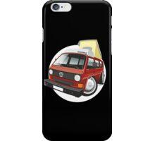 VW T3 pop-top camper caricature red iPhone Case/Skin