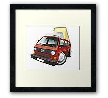 VW T3 pop-top camper caricature red Framed Print