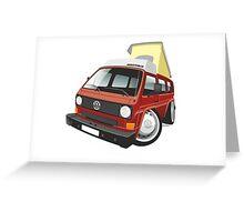 VW T3 pop-top camper caricature red Greeting Card