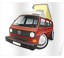 VW T3 pop-top camper caricature red Poster