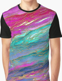 AGATE MAGIC, MIAMI SUMMER Pink Aqua Blue Marble Pattern Watercolor Abstract Painting Graphic T-Shirt