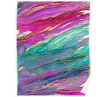 AGATE MAGIC, MIAMI SUMMER Pink Aqua Blue Marble Pattern Watercolor Abstract Painting Poster