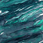 AGATE MAGIC, DARK TEAL Blue Green Marble Pattern Watercolor Abstract Painting by EbiEmporium